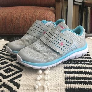 Champion Silver Blue Velcro Sneakers Shoes